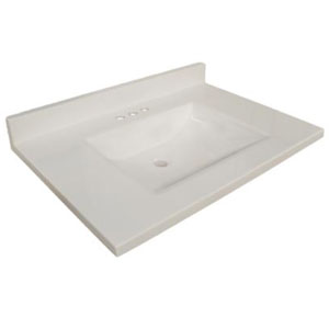 Wave Bowl Premium Granite Vanity Top, 31-inches by 22-inches, Solid White