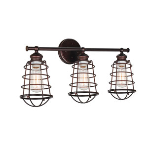 Ajax Textured Bronze 3-Light Bathroom Vanity Light