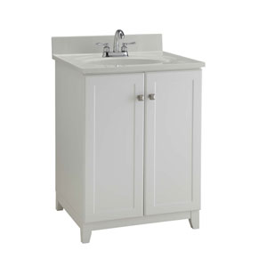 Furniture-Style Vanity Cabinet, 24-inches by 21-inches, Semi-Gloss White