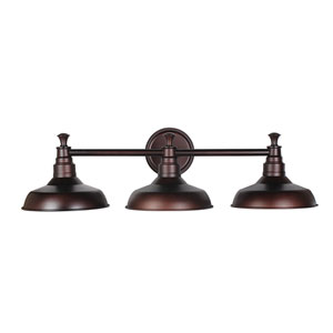 Kimball Textured Bronze 3-Light Bathroom Vanity Light