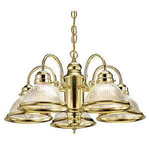 Millbridge Polished Brass Five-Light Downlight Chandelier