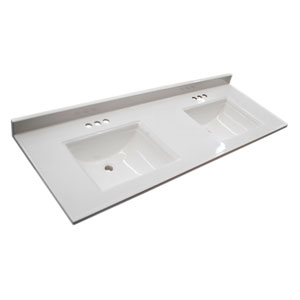 Camilla Double 15.5-inch Vanity Top with 4-Inch Backsplash, 61-inches by 22-inches, Solid White
