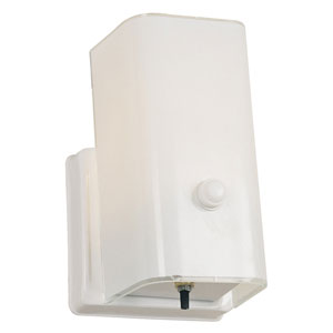 White Single Light Wall Sconce with Switch