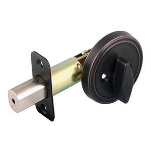 Single Cylinder Brushed Bronze 2-3/8-Inch Latch Deadbolt