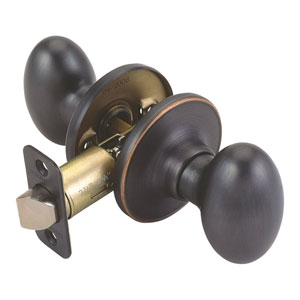 Egg Oil Rubbed Bronze Two-Way Latch Passage Oval Door Knob