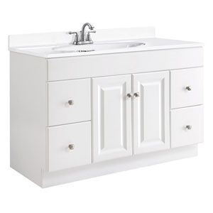Wyndham 48-Inch White Semi-Gloss Vanity Cabinet without Top