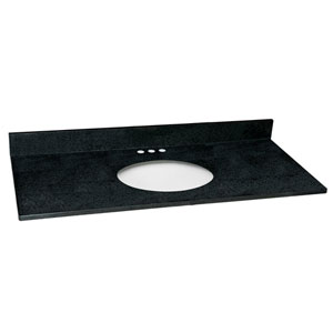 Richland Black Pearl Single Bowl Granite Vanity Top, 49-Inch by 22-Inch