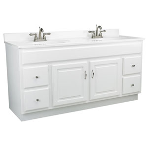 Concord 60-Inch White Gloss Vanity Cabinet without Top