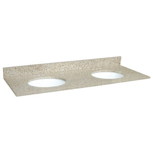 Ventura Golden Sand Double Bowl Granite Vanity Top, 61-Inch by 22-Inch