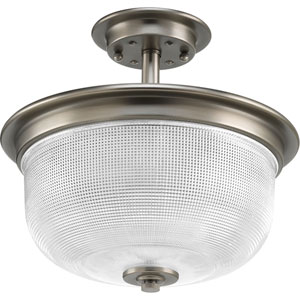 P2334-81: Archie Antique Nickel Two-Light Semi Flush Mount