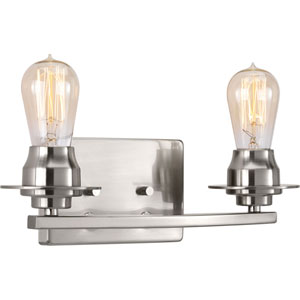 P300009-009: Debut Brushed Nickel Two-Light Bath Sconce