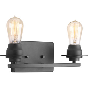 P300009-143: Debut Graphite Two-Light Bath Sconce