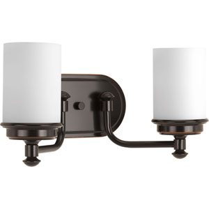 P300013-139: Glide Rubbed Bronze Two-Light Bath Sconce