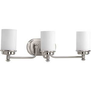 P300014-009: Glide Brushed Nickel Three-Light Bath Sconce
