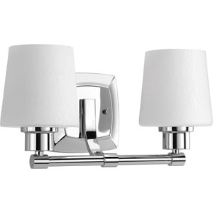 P300017-015: Glance Polished Chrome Two-Light Bath Sconce