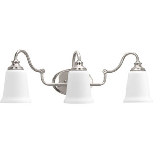 P300026-009: Wander Brushed Nickel Three-Light Bath Sconce