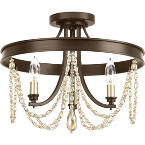 P350030-020: Allaire Antique Bronze Three-Light Semi Flush Mount