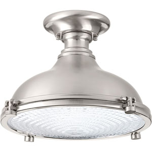 P350033-009-30: Fresnel Lens Brushed Nickel Energy Star One-Light LED Semi Flush Mount