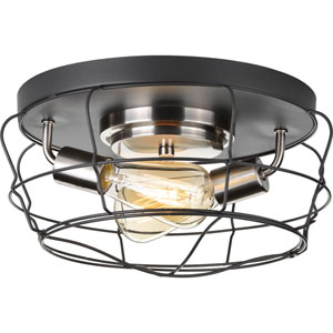 P350037-143: Gauge Graphite Two-Light Flush Mount