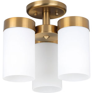P350040-109: Elevate Brushed Bronze Three-Light Semi Flush Mount