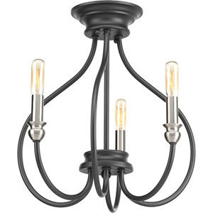 P350042-143: Whisp Graphite Three-Light Semi Flush Mount