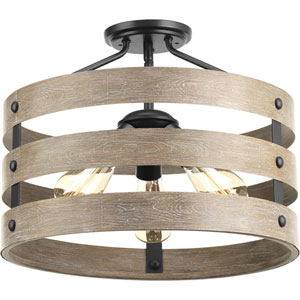 P350049-143: Gulliver Graphite Three-Light Semi Flush Mount