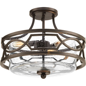 P350050-020: Soiree Antique Bronze Three-Light Semi Flush Mount