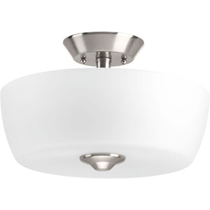P350060-009: Leap Brushed Nickel Two-Light Semi Flush Mount