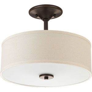 P3713-20: Inspire Antique Bronze Two-Light Semi Flush Mount