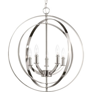 P3841-104: Equinox Polished Nickel Five-Light Pendant