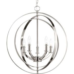 P3841-104: Equinox Polished Nickel Five-Light Pendant