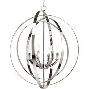 P3889-104: Equinox Polished Nickel Six-Light Pendant