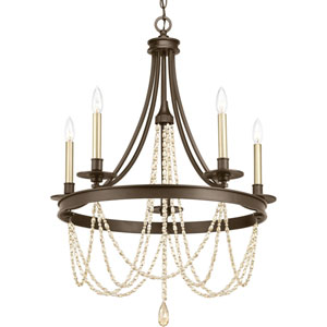 P400004-020: Allaire Antique Bronze Five-Light Chandelier