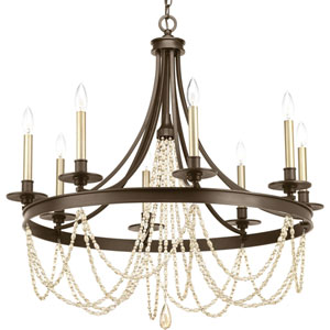 P400005-020: Allaire Antique Bronze Eight-Light Chandelier