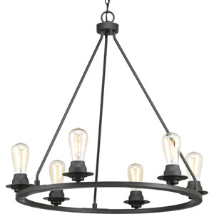 P400015-143: Debut Graphite Six-Light Chandelier