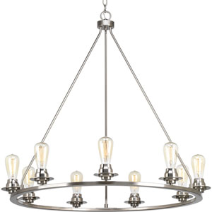 P400016-009: Debut Brushed Nickel Nine-Light Chandelier