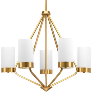 P400022-109: Elevate Brushed Bronze Five-Light Chandelier