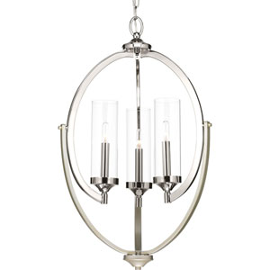 P400024-104: Evoke Polished Nickel and Gold Three-Light Chandelier