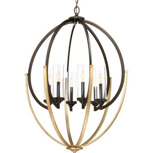 P400026-020: Evoke Antique Bronze Six-Light Chandelier