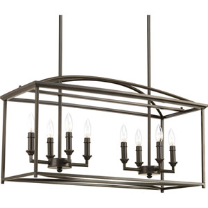 P400033-020: Piedmont Antique Bronze Eight-Light Chandelier