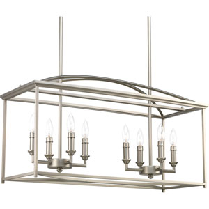 P400033-126: Piedmont Burnished Silver Eight-Light Chandelier