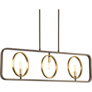 P400039-020: Swing Antique Bronze Three-Light Linear Pendant