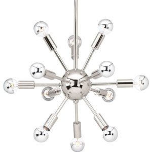 P400040-104: Ion Polished Nickel Twelve-Light Sputnik Pendant