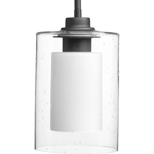P500018-143: Double Glass Graphite One-Light Mini Pendant