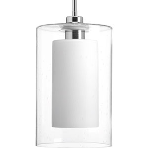 P500019-015: Double Glass Polished Chrome One-Light Mini Pendant