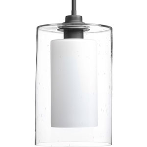 P500019-143: Double Glass Graphite One-Light Mini Pendant