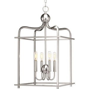 P500036-009: Assembly Hall Brushed Nickel Four-Light Lantern Pendant