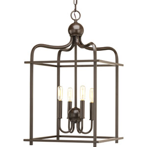 P500036-020: Assembly Hall Antique Bronze Four-Light Lantern Pendant