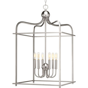 P500037-009: Assembly Hall Brushed Nickel Six-Light Lantern Pendant