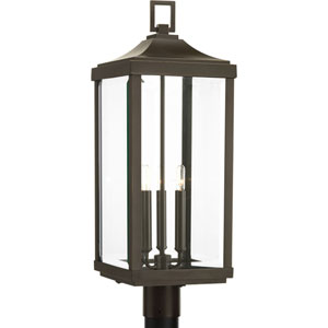 P540004-020: Gibbes Street Antique Bronze Three-Light Outdoor Post Mount